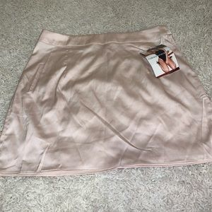 Naked Wardrobe nude / champagne faux silk skirt